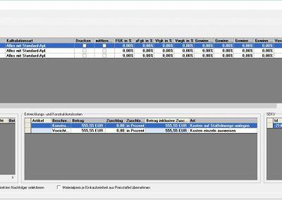 Ansicht FORB Stammdatenverwalten Vorkalkulationsparameter